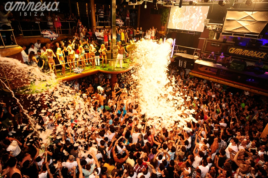 A crazy foam party at Amnesia Ibiza