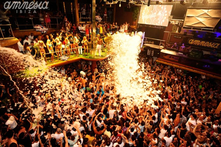 A crazy foam party at Amnesia Ibiza