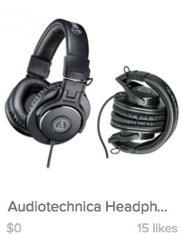A screenshot of Audiotechnica headphones priced at $0